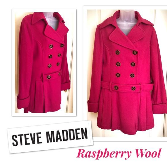 Steve Madden Jackets & Blazers - Wool Coat Steve Madden Raspberry Double Breasted❄️